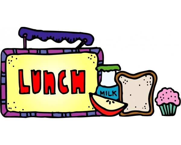 Picture of Lunchbox with the word LUNCH also pictured is an apple slice, sandwich, cupcake, and milk bottle